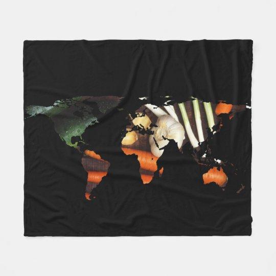 World Map Silhouette - Healthy Vegetables Fleece Blanket