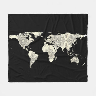 World Map Silhouette - Mandala 01 Fleece Blanket