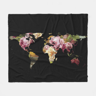 World Map Silhouette - Painting of Roses Fleece Blanket