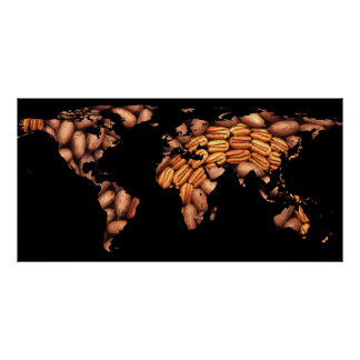 World Map Silhouette - Pecans in a Design Poster