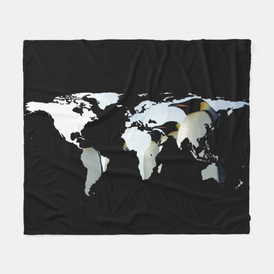 World Map Silhouette - Penguins Fleece Blanket