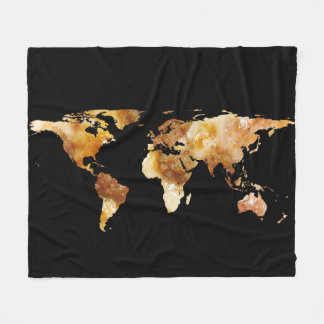 World Map Silhouette - Sausage Pizza Fleece Blanket