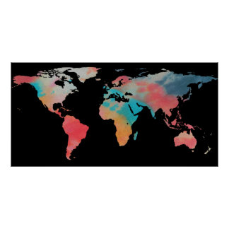 World Map Silhouette - Tie Dye Colors Poster