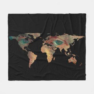 World Map Silhouette - Van Gogh's Painted Eyes Fleece Blanket