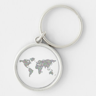 World map Silver-Colored round keychain