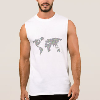 World map sleeveless shirt