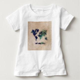 world map splash baby romper
