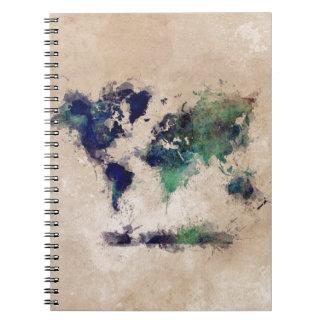 world map splash notebook