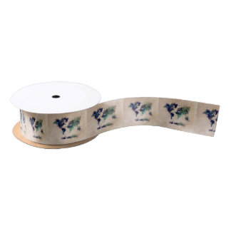 world map splash satin ribbon