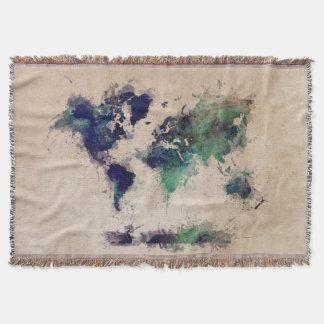 world map splash throw blanket