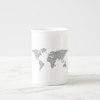 World map tea cup
