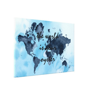 World Map Travel Quote Canvas Print