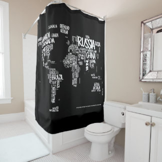 World Map Typography Shower Curtain, Black & White