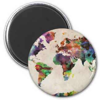 World Map Urban Watercolor 2 Inch Round Magnet