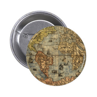 World Map Vintage Atlas Historical Continents 2 Inch Round Button