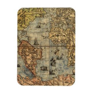 World Map Vintage Atlas Historical Continents Rectangular Photo Magnet