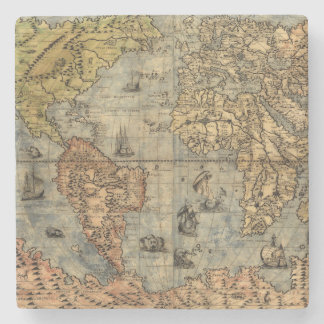 World Map Vintage Atlas Historical Continents Stone Coaster