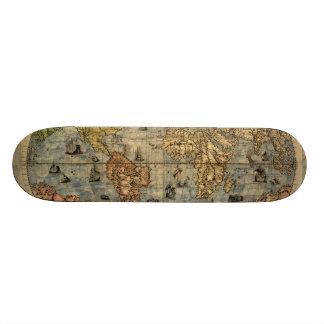 World Map Vintage Atlas Historical Skate Deck