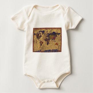 world map vintage baby bodysuit