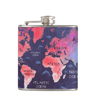 world map Vinyl Wrapped Flask