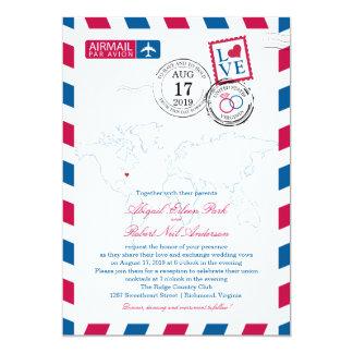 "World Map Virginia USA Airmail | Wedding 5"" X 7"" Invitation Card"