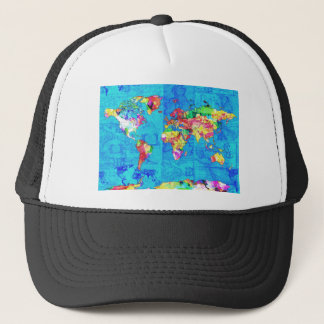 world map watercolor  10 trucker hat