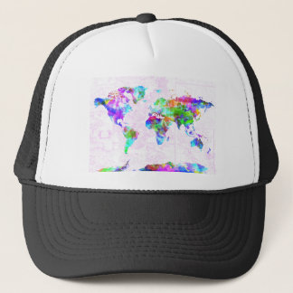 world map watercolor  11 trucker hat