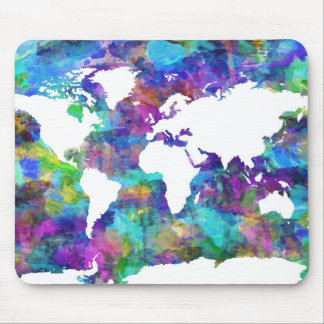 world map watercolor  13 mouse pad