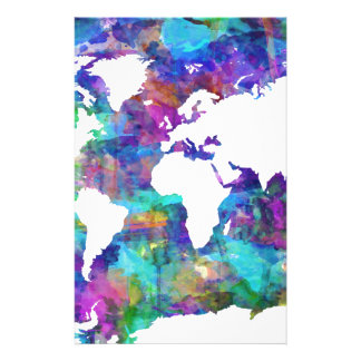 world map watercolor  13 stationery paper