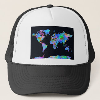 world map watercolor  14 trucker hat