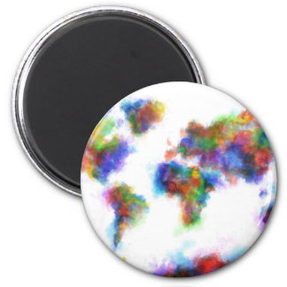 world map watercolor 16 2 inch round magnet