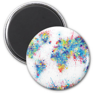 world map watercolor 17 2 inch round magnet