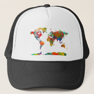 world map watercolor 18 trucker hat