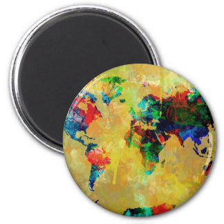 world map watercolor 19 2 inch round magnet