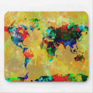 world map watercolor 19 mouse pad