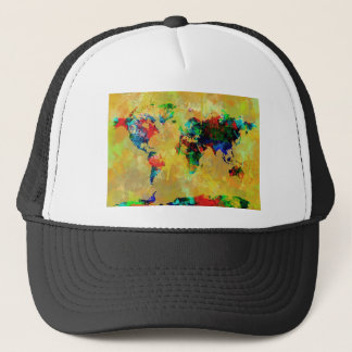 world map watercolor 19 trucker hat