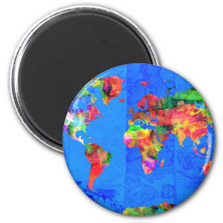 world map watercolor  1 2 inch round magnet