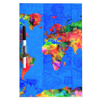 world map watercolor  1 dry erase whiteboard