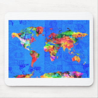 world map watercolor  1 mouse pad