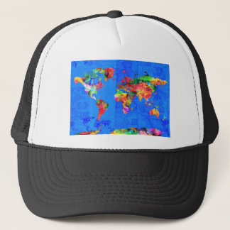 world map watercolor  1 trucker hat