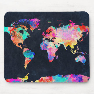 world map watercolor 21 mouse pad
