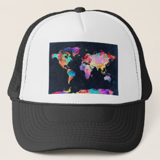 world map watercolor 21 trucker hat