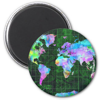 world map watercolor 23 2 inch round magnet