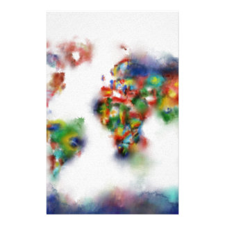 world map watercolor 25 stationery