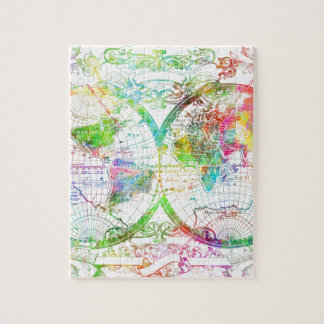 world map watercolor 27 jigsaw puzzle