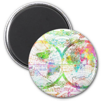 world map watercolor 27 magnet