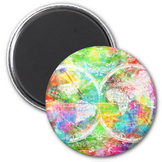 world map watercolor 28 2 inch round magnet