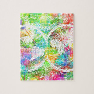 world map watercolor 28 jigsaw puzzle