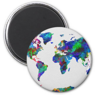 world map watercolor 29 magnet
