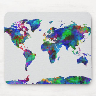 world map watercolor 29 mouse pad